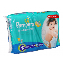 Pampers Active Baby 4+ Maxi Plus Giant Pack 9-16kg 74db